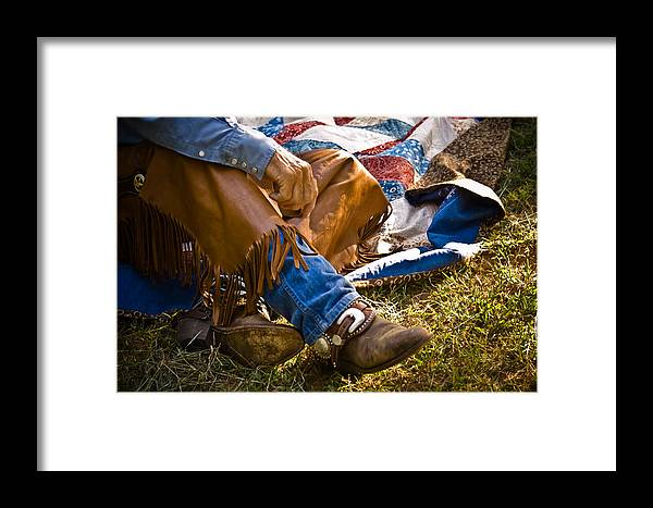 Cowboy Framed Print featuring the photograph Boots And Quilt On The Trail by Toni Hopper