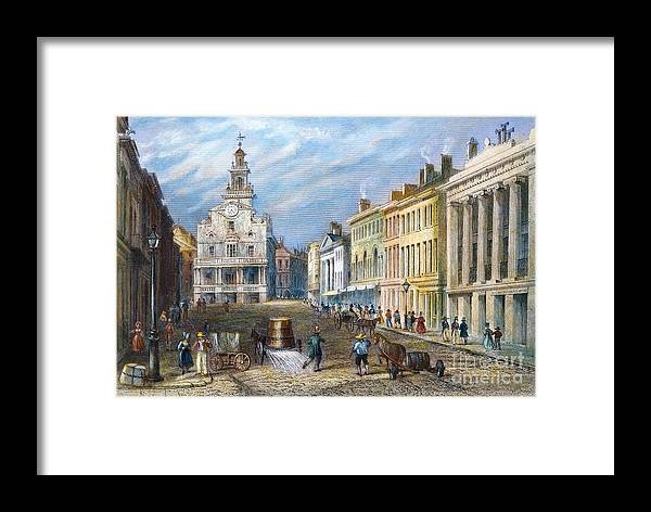 1837 Framed Print featuring the photograph Boston: State Street by Granger