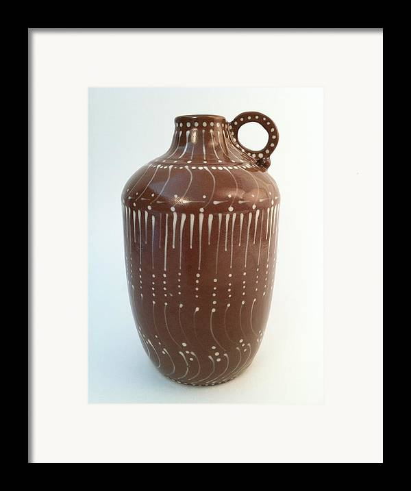 Art Framed Print featuring the ceramic art Bottle Of Deep Red Clay With White Slip Decoration And A Handle by Carolyn Coffey Wallace