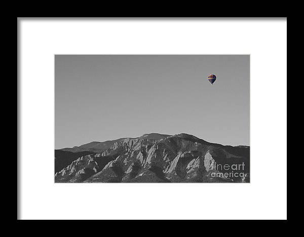 'hot Air Balloon' Framed Print featuring the photograph Boulder Colorado Flatirons Hot Air Balloon View Bw by James BO Insogna