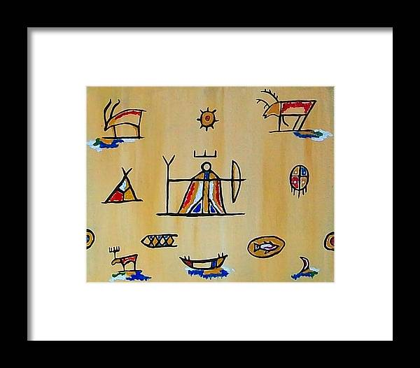 Sami Symbols Framed Print featuring the painting Bow Woman by Carolyn Cable