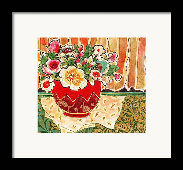 Still Life Framed Print featuring the mixed media Bowl And Blossoms by Diane Fine