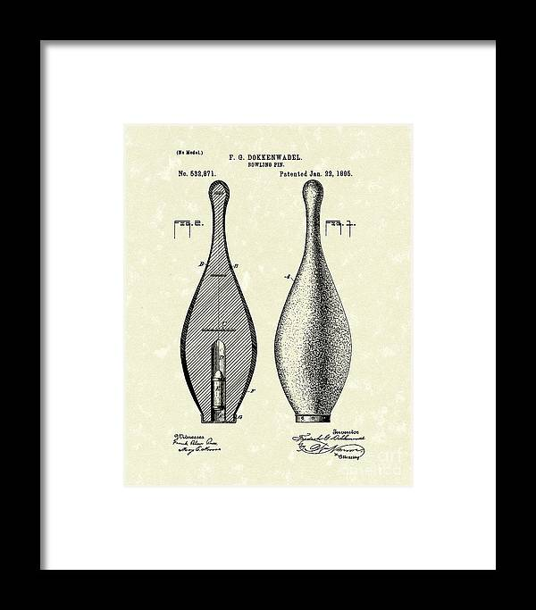 Dokkenwadel Framed Print featuring the drawing Bowling Pin 1895 Patent Art by Prior Art Design