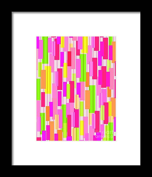 Boxed Stripe (digital) By Louisa Knight (contemporary Artist) Framed Print featuring the digital art Boxed Stripe by Louisa Knight