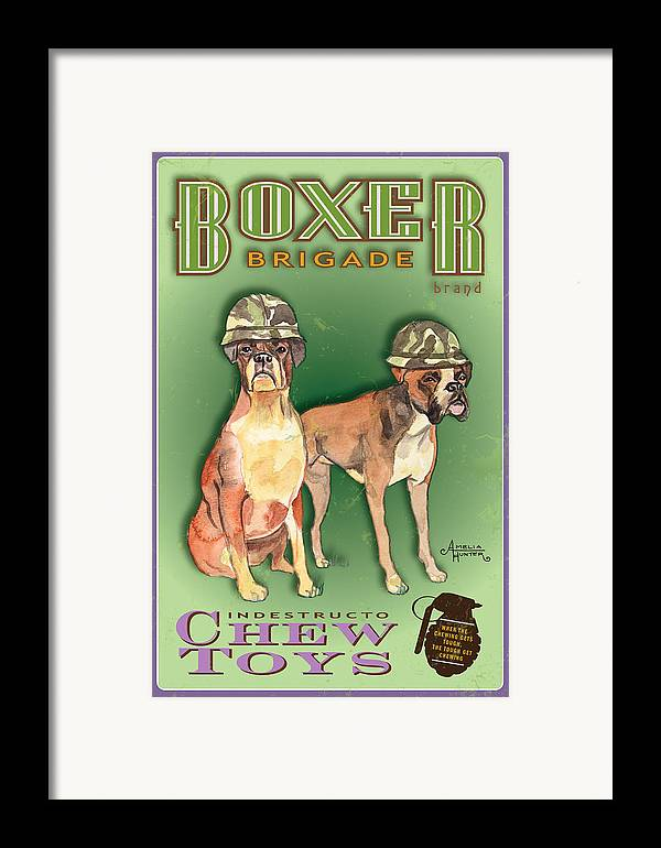 Boxer Art Framed Print featuring the pastel Boxer Brigade Chew Toys by Amelia Hunter