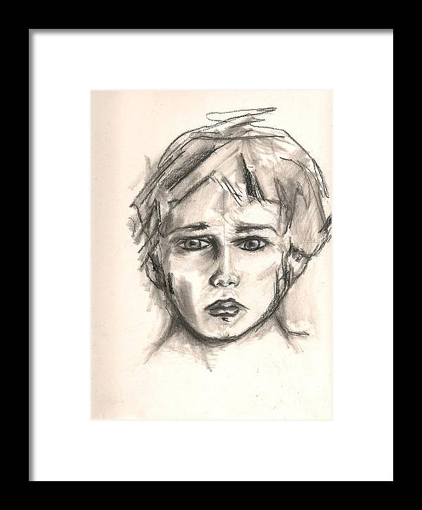 Drawing Framed Print featuring the drawing Boy by Gustavo Ramirez