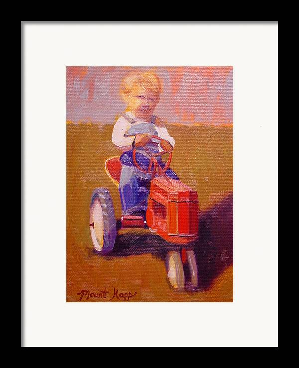 Cintage Framed Print featuring the painting Boy On Tractor by The Vintage Painter