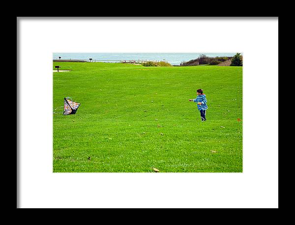 Kite Framed Print featuring the photograph Boy With His Kite Maine by Maureen E Ritter