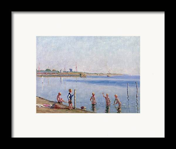 Skinny Dipping Framed Print featuring the painting Boys At Water's Edge by Johan Rohde