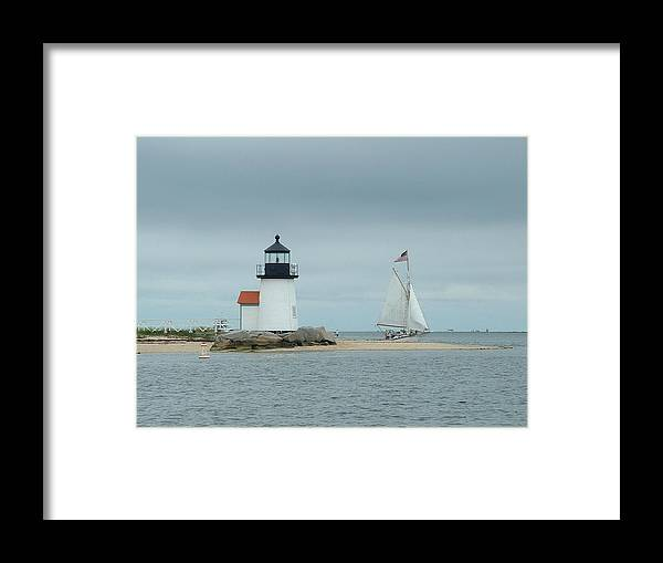 Sailboat Framed Print featuring the photograph Brant Point Abeam by Lin Grosvenor