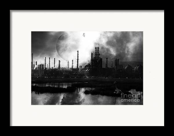 Brave New World Framed Print featuring the photograph Brave New World - Version 2 - Black And White - 7d10358 by Wingsdomain Art and Photography