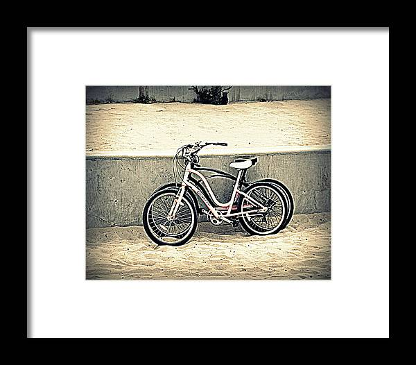 Bikes On Beach Framed Print featuring the photograph Break Time by Nicky Dou