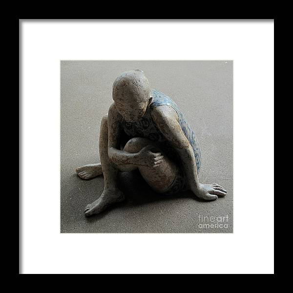 Sculpture Framed Print featuring the sculpture Breakfast on the grass by Raimonda Jatkeviciute-Kasparaviciene