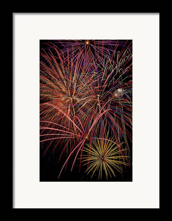 Fireworks 4th Of July Framed Print featuring the photograph Bright Colorful Fireworks by Garry Gay