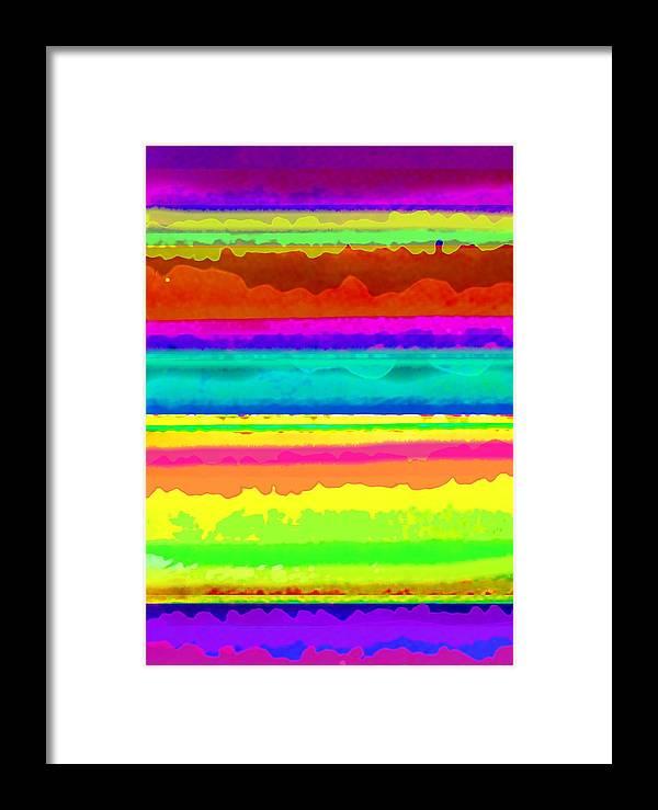 Bright Stripe (digital) By Louisa Knight (contemporary Artist) Framed Print featuring the digital art Bright Stripe by Louisa Knight