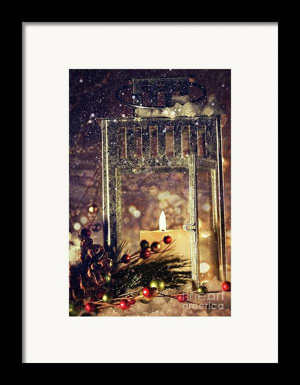 Background; Burn; Candle; Christmas; Cold; Color; Decoration; Evening; Fire; Glass; Holiday; Ice; Lamp; Lantern; Light; New; Night; Red; Season; Snow; Warm; Winter; Xmas; Year; Yellow; Santa; Claus; Snowy; Framed Print featuring the photograph Brightly Lit Lantern In The Snow by Sandra Cunningham