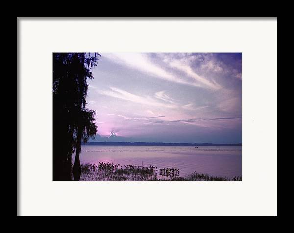 Blue Framed Print featuring the photograph Brilliant Everglades Sunset by Lynnette Johns