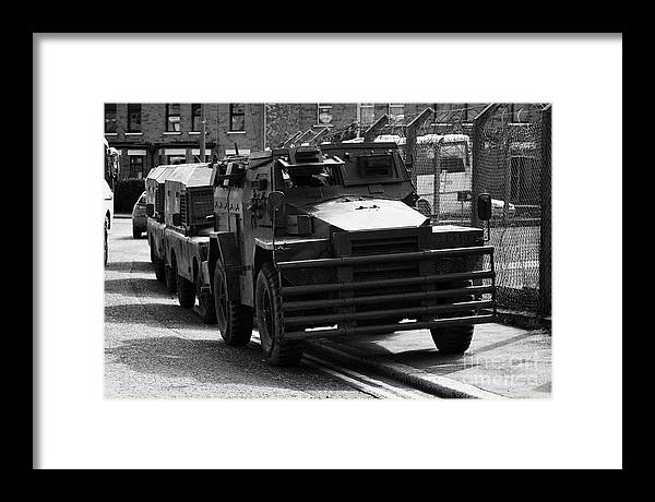 4e2a5487a6 Ireland Framed Print featuring the photograph British Army Humber Pig Vehicle  Belfast Northern Ireland Street by