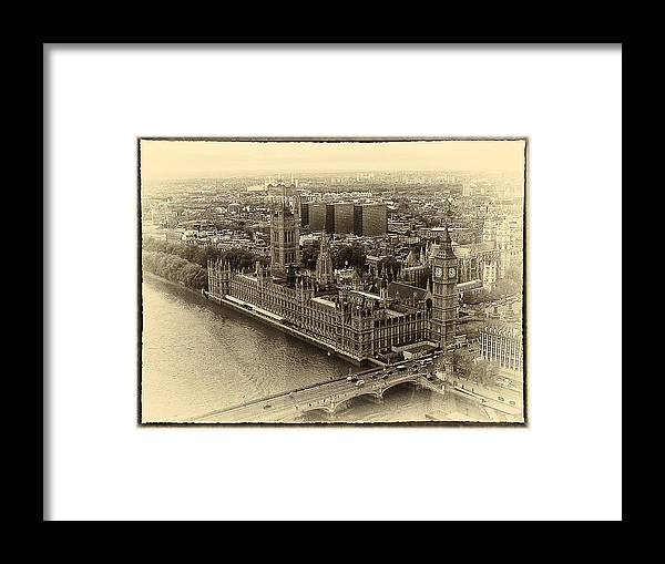 B&w Framed Print featuring the photograph British Parliment by Scott Massey