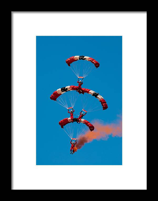 Paracute Framed Print featuring the photograph British Red Devils by Greg Meland