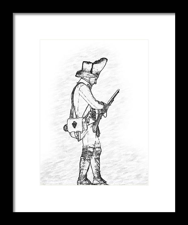 British Soldier Framed Print featuring the digital art British Soldier with Rifle Sketch by Randy Steele