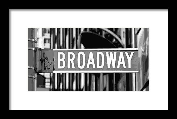 New York Broadway Sign Framed Print featuring the photograph Broadway Sign Color Bw10 by Scott Kelley