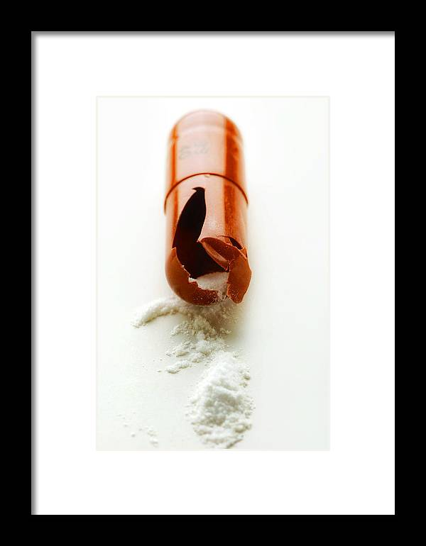 Pill Framed Print featuring the photograph Broken Drug Capsule by Tim Vernonlth Nhs Trust
