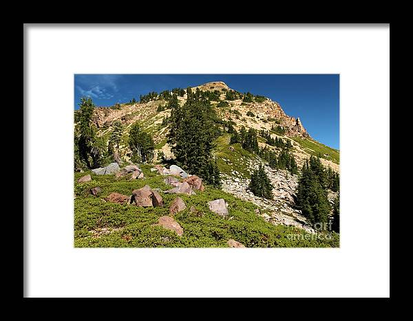 Lassen Volcanic National Park Framed Print featuring the photograph Brokeoff Mountain by Adam Jewell