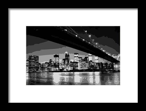 Brooklyn Bridge Framed Print featuring the photograph Brooklyn Bridge @ Night Bw8 by Scott Kelley