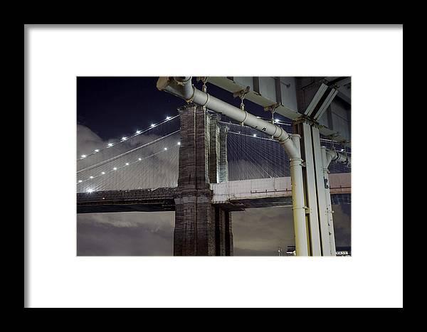 Brooklyn Bridge Framed Print featuring the photograph Brooklyn Bridge And A Drain by Alex AG
