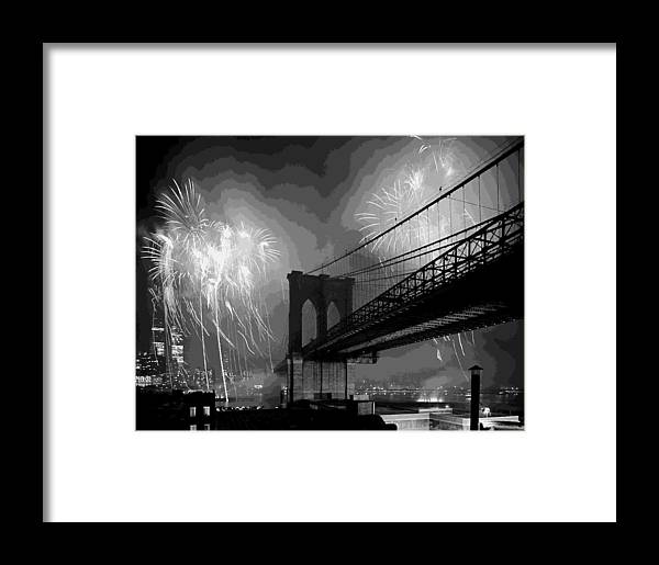 New York Framed Print featuring the photograph Brooklyn Bridge Fireworks Bw16 by Scott Kelley