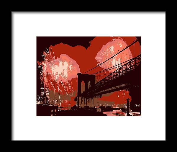 New York Framed Print featuring the photograph Brooklyn Bridge Fireworks Color 6 by Scott Kelley