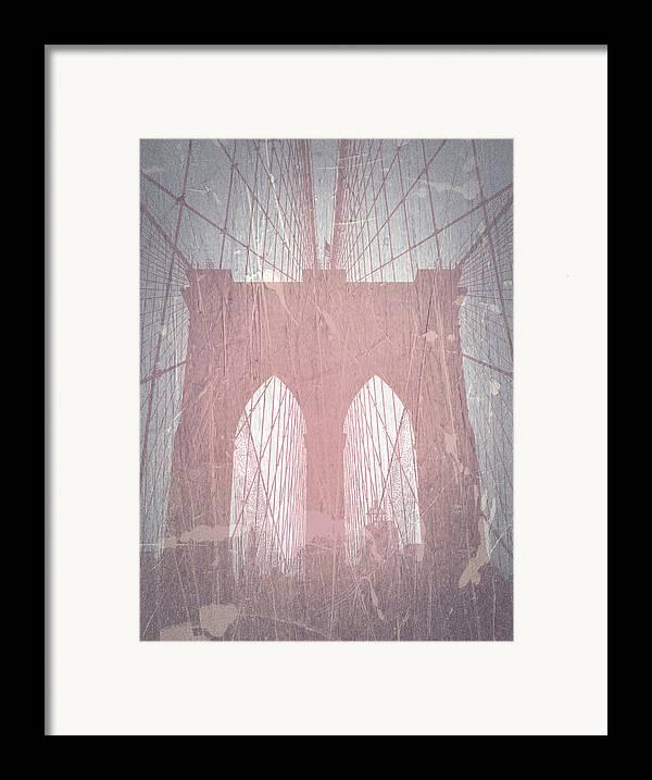 Brooklyn Bridge Framed Print featuring the photograph Brooklyn Bridge Red by Naxart Studio