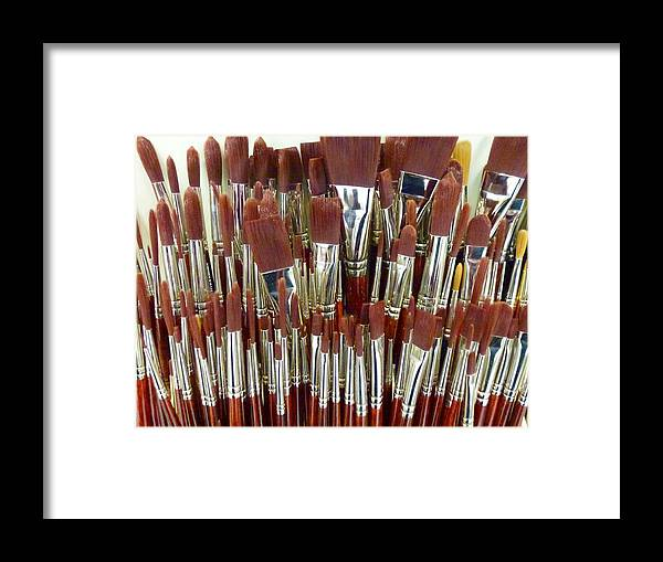 Paint Framed Print featuring the photograph Brushes by Ed Lukas