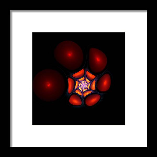 Bubble Art Fractal Digital Red Color Colorful Abstract Expressionism Impressionism Orange Yellow Design Framed Print featuring the digital art Bubble Art 1 by Steve K
