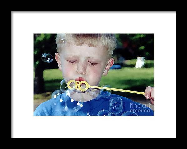 People Framed Print featuring the photograph Bubble Boy by Susan Stevenson