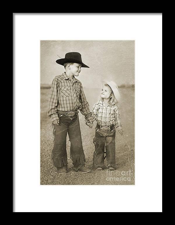 Children Framed Print featuring the digital art Buckaroo Friends by Cindy Singleton