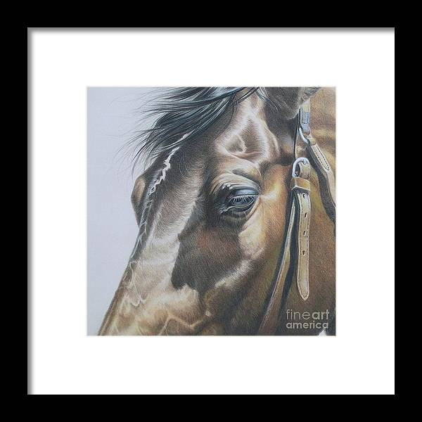 Colored Pencil Framed Print featuring the drawing Buckles And Belts In Colored Pencil by Carrie L Lewis