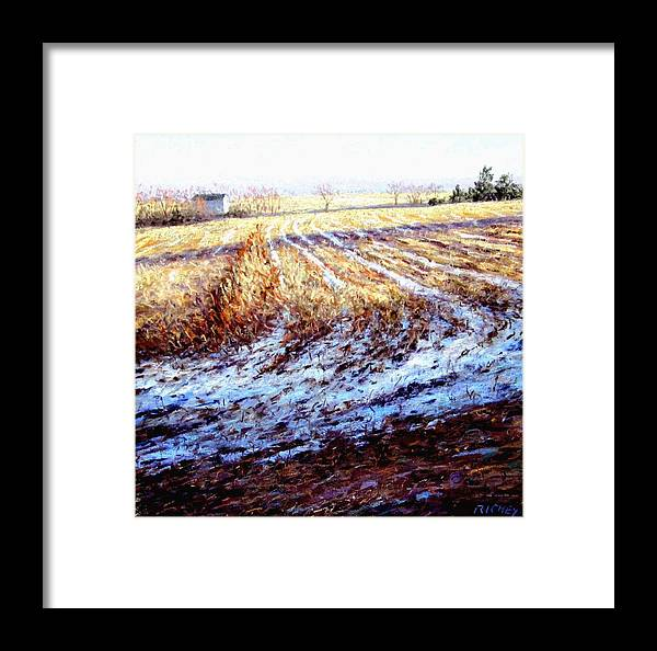 Bucks County Framed Print featuring the pastel Bucks County Late Winter Fields by Bob Richey