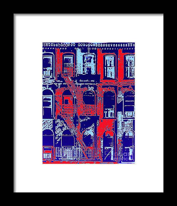 Building Facades Framed Print featuring the photograph Building Facade In Blue And Red by Rich Walter