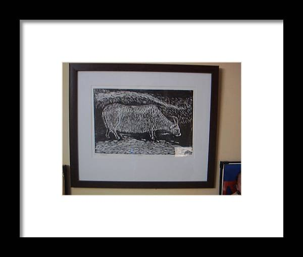 Bull Framed Print featuring the relief Bull by Deepak chand