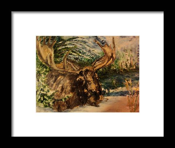 Wildeness Framed Print featuring the painting Bull Moose by Lynn Welker
