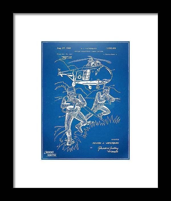 Bulletproof Framed Print featuring the digital art Bulletproof Patent Artwork 1968 Figure 15 by Nikki Marie Smith