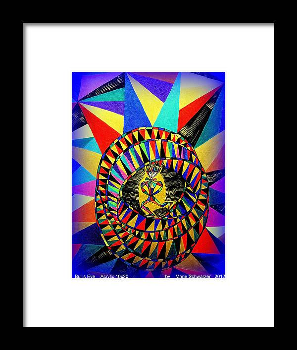 Abstract Framed Print featuring the painting Bull's Eye by Marie Schwarzer