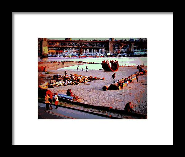 Beach Framed Print featuring the photograph Busy City Beach by Eva Kondzialkiewicz