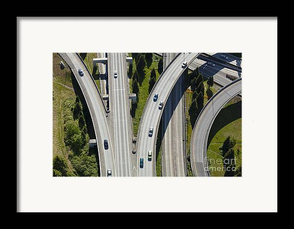 Aerial Framed Print featuring the photograph Busy Freeway Interchange by Don Mason