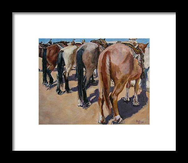Horses Framed Print featuring the painting Butt A Horse Of Course by Kellie Straw
