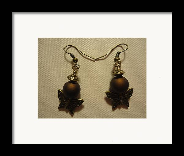 Greenworldalaska Framed Print featuring the photograph Butterfly Brown Earrings by Jenna Green