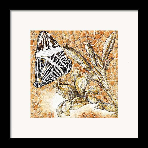 Acrylic Framed Print featuring the painting Butterfly Mosaic 02 Elena Yakubovich by Elena Yakubovich