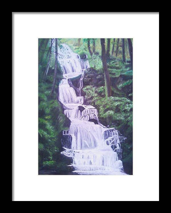 Water Framed Print featuring the painting Buttermilk Falls by Samuel McMullen